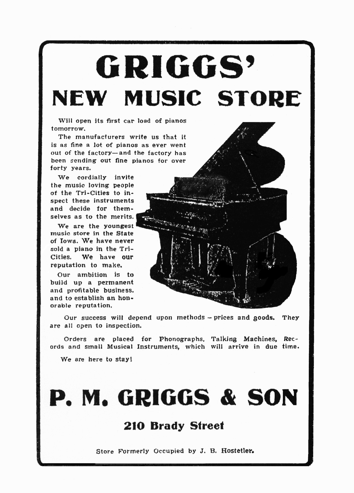 First ad for Griggs in Davenport, 1903.
