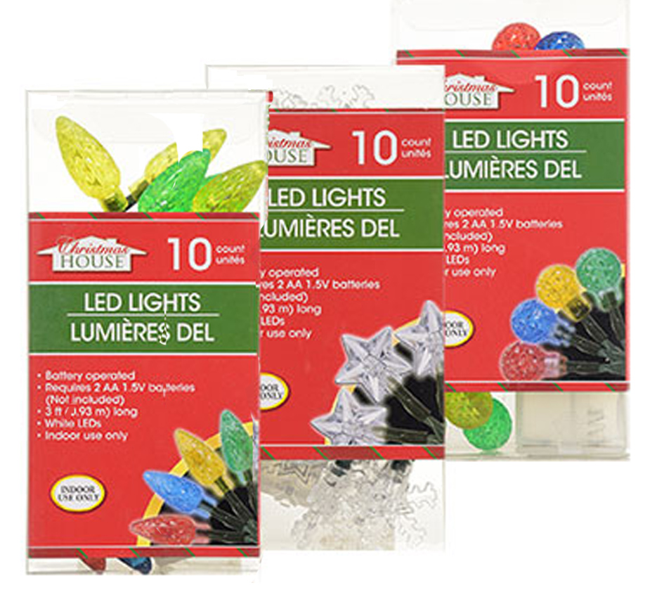 but battery powered christmas lights work great here are some 10 led sets available from dollar tree in several styles and they use aa batteries